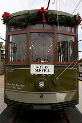 16 December, 05. New Orleans, Louisiana. <br /> The historic St Charles street car prepares to take a new route along River Walk and Canal Street.<br /> Photo; ©Charlie Varley/varleypix.com