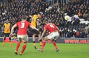 Hull City striker Abel Hernandez (9) heads towards goal during the Sky Bet Championship match between Hull City and Nottingham Forest at the KC Stadium, Kingston upon Hull, England on 15 March 2016. Photo by Ian Lyall.