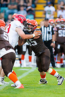 KELOWNA, BC - AUGUST 17:  Aiden HENNESSEY #45 of Okanagan Sun blocks a player of the Westshore Rebels  at the Apple Bowl on August 17, 2019 in Kelowna, Canada. (Photo by Marissa Baecker/Shoot the Breeze)