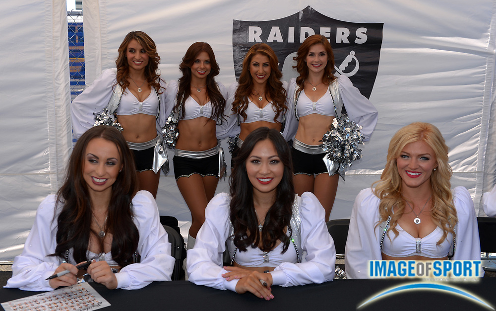 Sep 15, 2013; Oakland, CA, USA; Oakland Raiders cheerleaders pose before the game against the Jacksonville Jaguars at O.co Coliseum.