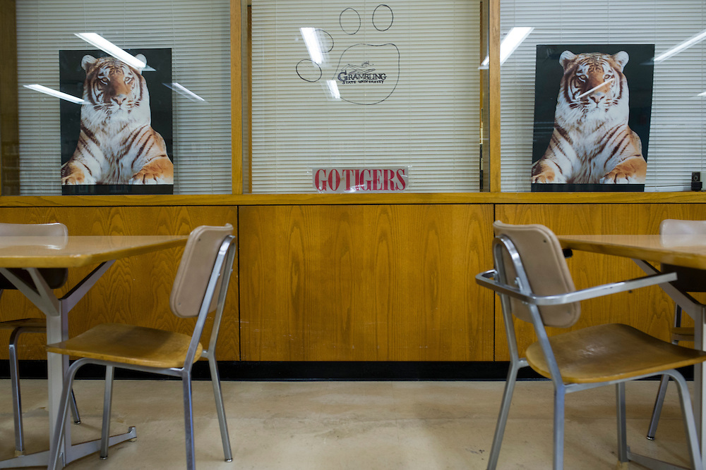 Grambling State University posters hang in the A.C. Lewis Library in Grambling, Louisiana on October 23, 2013.  (Cooper Neill for The New York Times)