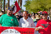 Apr. 19, 2009 -- PHOENIX, AZ: ARTURO S. RODRIGUEZ, president of the United Farm Workers of America, center, leads a march through central Phoenix. About 2,000 people marched from the Arizona State Capitol to Cesar Chavez Plaza in downtown Phoenix. The march was organized by the United Farm Workers of America to promote immigration reform.  Photo by Jack Kurtz