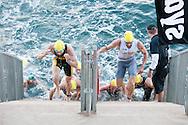 Swim Exit.2011 Dextro Energy Triathlon ITU World Championship Sydney.Age Group Event.Sydney, New South Wales, Australia..Hosted By USM Events.Proudly Supported By Asics, Dextro, Suunto, Events New South Wales, Subaru, USM Events..10/04/2011.Photo Lucas Wroe