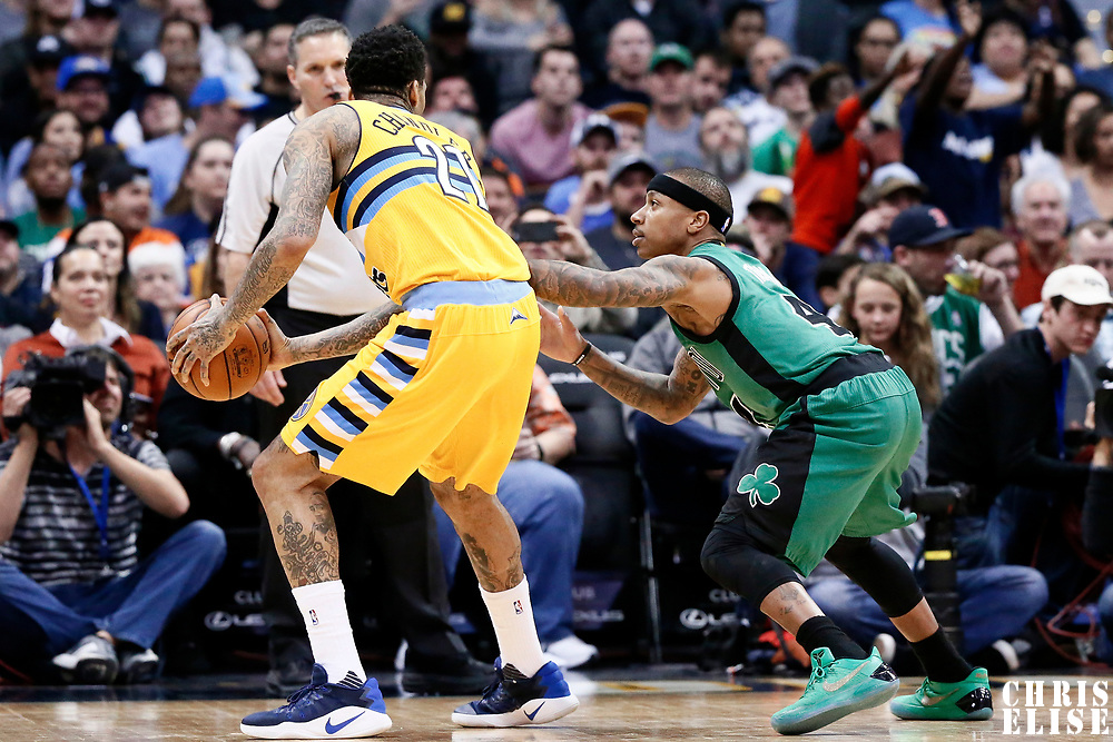 10 March 2017: Boston Celtics guard Isaiah Thomas (4) defends on Denver Nuggets forward Wilson Chandler (21) during the Denver Nuggets 119-99 victory over the Boston Celtics, at the Pepsi Center, Denver, Colorado, USA.