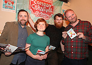 repro free: Vodafone Comedy Carnival : <br /> <br /> Pictured at the launch of the Vodafone Comedy Carnival in the Roisin Dubh were, Bob Hennigan, Aine Gallagher, Steve Bennett and Fred Cooke. The 2016 Vodafone Comedy Carnival runs as part of Vodafone&rsquo;s Centre Stage and is sure to fill the &lsquo;Eyre&rsquo; with laughter with performances from international and home grown comedians over the October bank holiday weekend (25th to 31st of October). Shows will take place in multiple venues across the city, including the brand new venue &lsquo;The Red Box&rsquo; at Eyre Square. Tickets on sale from Monday 29th August. For more for info go to  HYPERLINK &quot;http://www.vodafonecomedycarnival.com&quot; www.vodafonecomedycarnival.com&nbsp; <br /> Photo: xposure.