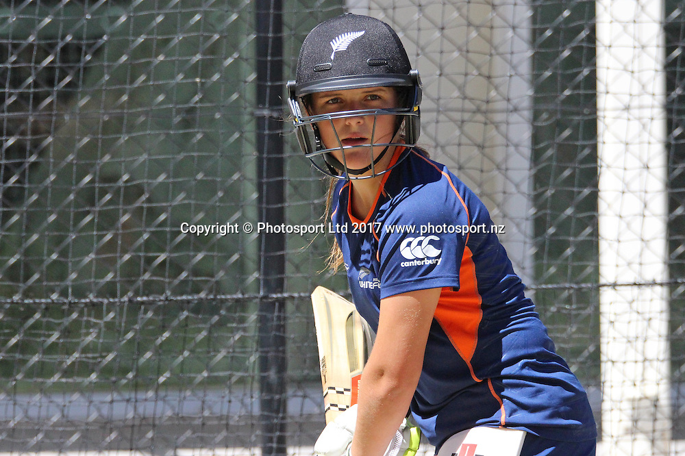 Amelia Kerr batting practice in the nets.<br /> New Zealand White Ferns women's cricket team training at the Adelaide Oval, Adelaide, Australia on 21 February 2017.<br /> Copyright photo: Margo Butcher / www.photosport.nz