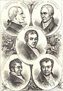 British leaders of the movement to abolish slavery. Thomas Fowell Buxton (1786-1845), Thomas Clarkson (1760-1846), Zacharay Macaulay (1766-1838), Granville Sharp (1735-1813) and William Wilberforce (1759-1833).  Engraving c1880.  Abolition of the Slave Trade Act 180722:45 Slavery Abolition Act 1833.