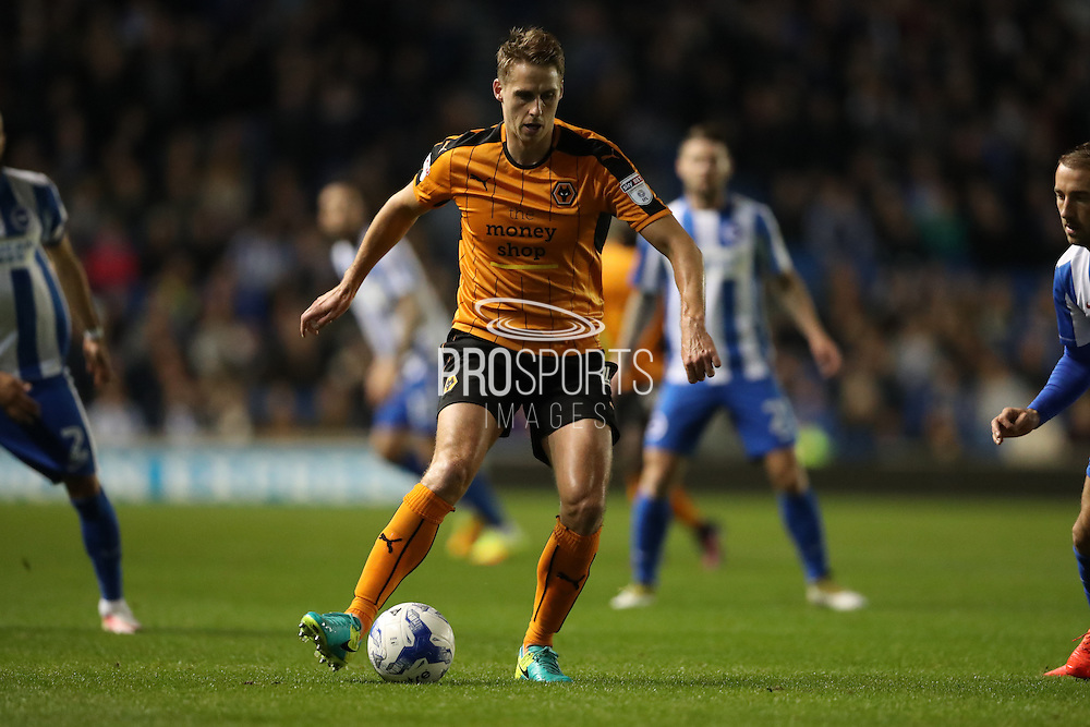 Wolverhampton Wanderers midfielder Dave Edwards (4) during the EFL Sky Bet Championship match between Brighton and Hove Albion and Wolverhampton Wanderers at the American Express Community Stadium, Brighton and Hove, England on 18 October 2016.