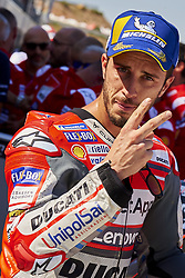 September 22, 2018 - Alcaniz, Teruel, Spain - Andrea Dovizioso (4) of Italy and Ducati Team  second place during qualifying for the Gran Premio Movistar de Aragon of world championship of MotoGP at Motorland Aragon Circuit on September 22, 2018 in Alcaniz, Spain. (Credit Image: © Jose Breton/NurPhoto/ZUMA Press)