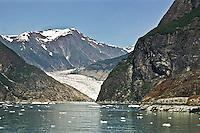 Sawyer Glacier of the Coast Mountains flows into Tracy Arm, Alaska.