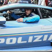 Roma 05/02/2017 Stadio Olimpico<br /> RBS 6 nations <br /> Italia vs Galles<br /> Simone Favaro in una macchina della polizia