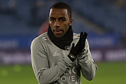 Ricardo Pereira (21) warming up before the Premier League match between Leicester City and Watford at the King Power Stadium, Leicester, England on 4 December 2019.