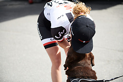 Floortje Mackaij (NED) with her dog at Ladies Tour of Norway 2018 Stage 1, a 127.7 km road race from Rakkestad to Mysen, Norway on August 17, 2018. Photo by Sean Robinson/velofocus.com