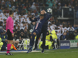 Real Madrid CF's Zinedine Zidane and Kylian Mbappe of PSG collide of the field during UEFA Champions League match, groups between Real Madrid and Paris Saint Germain at Santiago Bernabeu Stadium in Madrid, Spain. November, Tuesday 26, 2019. Photo by Manu R.B./AlterPhotos/ABACAPRESS.COM