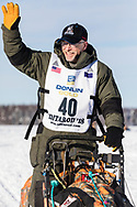 Musher Jeff King after the restart in Willow of the 46th Iditarod Trail Sled Dog Race in Southcentral Alaska.  Afternoon. Winter.