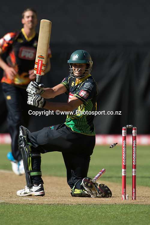 Andrew Mathieson of the Stags is bowled out by Brent Arnel of the Firebirds during the Georgie Pie Super Smash Firebirds v Stags cricket match at the Westpac Stadium in Wellington on Sunday the 23rd of November 2014. Photo by Marty Melville/www.Photosport.co.nz