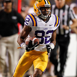 November 10, 2012; Baton Rouge, LA, USA; LSU Tigers wide receiver James Wright (82) against the Mississippi State Bulldogs during the first half of a game at Tiger Stadium.  Mandatory Credit: Derick E. Hingle-US PRESSWIRE