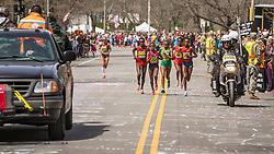 2014 Boston Marathon: lead pack of elite women race passes mile 20 in the Newton Hills, Shalane Flanagan drops from leaders on Heartbreak Hill