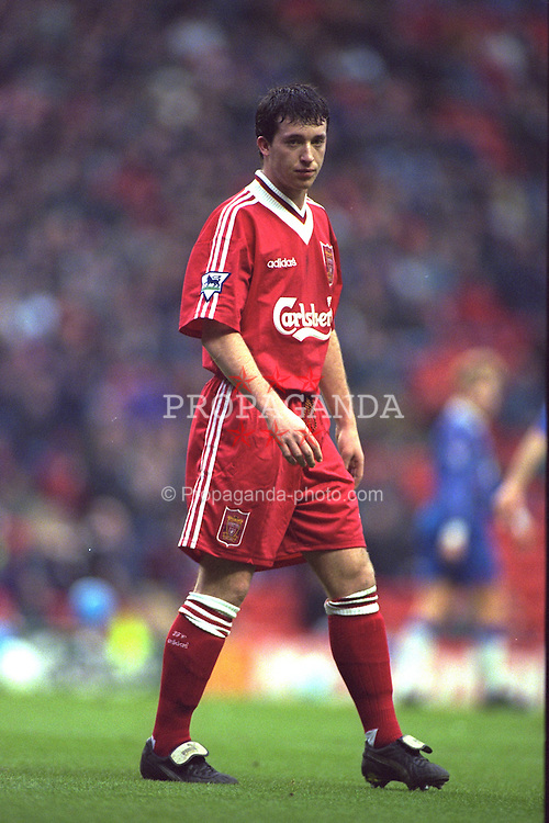 LIVERPOOL, ENGLAND - Saturday, January 6, 1996: Liverpool's Robbie Fowler in action against Rochdale during the FA Cup 3rd Round match at Anfield. (Photo by David Rawcliffe/Propaganda)