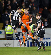 10th April 2018, Tannadice Park, Dundee, Scotland; Scottish Championship football, Dundee United versus St Mirren; Liam Smith of St Mirren competes in the air with Thomas Mikkelsen of Dundee United  as Gary MacKenzie of St Mirren watches
