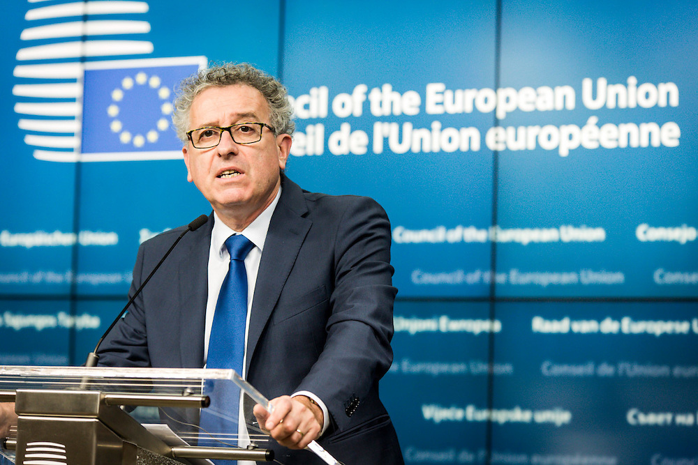 Press conference at the issue of the ECOFIN meeting in Brussels with Pierre Gramegna, Luxemburg Minister for Finances,  and Valdis Dombrovskis,  European Commissioner for the Euro and Social Dialogue.