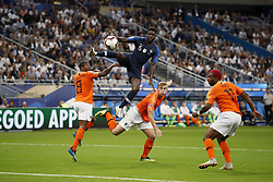 (L-R) Georginio Wijnaldum of Holland, Samuel Umtiti of France, Matthijs de Ligt of Holland, Ryan Babel of Holland during the UEFA Nations League A group 1 qualifying match between France and The Netherlands on September 09, 2018 at Stade de France in Saint Denis,  France
