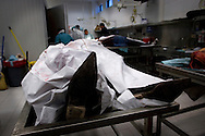 The morgue in the city of Juarez,., in the last year the violent between the drug cartels rise up and moor then 1500 people was assassin around the city  put the morgue in the city work over hours doctors  removes bullet fragments from the body?s that was brought in for evidence and continues investigations  that the Mexican police supposed to do..