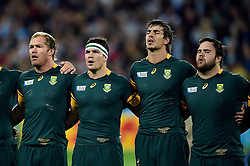 Schalk Burger, Francois Louw, Eben Etzebeth and Frans Malherbe of South Africa sing their national anthem - Mandatory byline: Patrick Khachfe/JMP - 07966 386802 - 30/10/2015 - RUGBY UNION - The Stadium, Queen Elizabeth Olympic Park - London, England - South Africa v Argentina - Rugby World Cup 2015 Bronze Final.