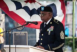 Keynote speaker CSM (ret) Leonard K. Amey.  Veteran's Day Parade and Program at the Frankliin Delano Roosevelt Memorial Park in Charlotte Amalie.  St. Thomas.  11 November 2013.  © Aisha-Zakiya Boyd
