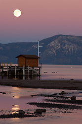 """""""Full Moon Over Lake Tahoe 2""""- This full moon was photographed near Commons Beach, Lake Tahoe."""