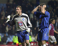 Photo. Richard Lane. <br />Aston Villa v Birmingham City. Barclaycard Premiership. 03/03/2003<br />Geoff Horsfield, Biringham goal scorer , who ended up in goal and captain, Jeff Kenna celebrate victory and a double over Aston Villa.