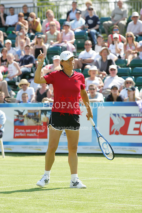 LIVERPOOL, ENGLAND - WEDNESDAY, JUNE 8th, 2005: Martina Navratilova in action during the Mixed Doubles match at the Liverbird Developments Liverpool International Tennis Tournament in Calderstones Park. (Pic by Dave Rawcliffe/Propaganda)