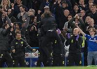 Football - 2016 / 2017 Premier League - Chelsea vs. Middlesborough<br /> <br /> Chelsea Manager Antonio Conte celebrates his teams 3rd goal by leaping into his assistants arms at Stamford Bridge.<br /> <br /> COLORSPORT/DANIEL BEARHAM
