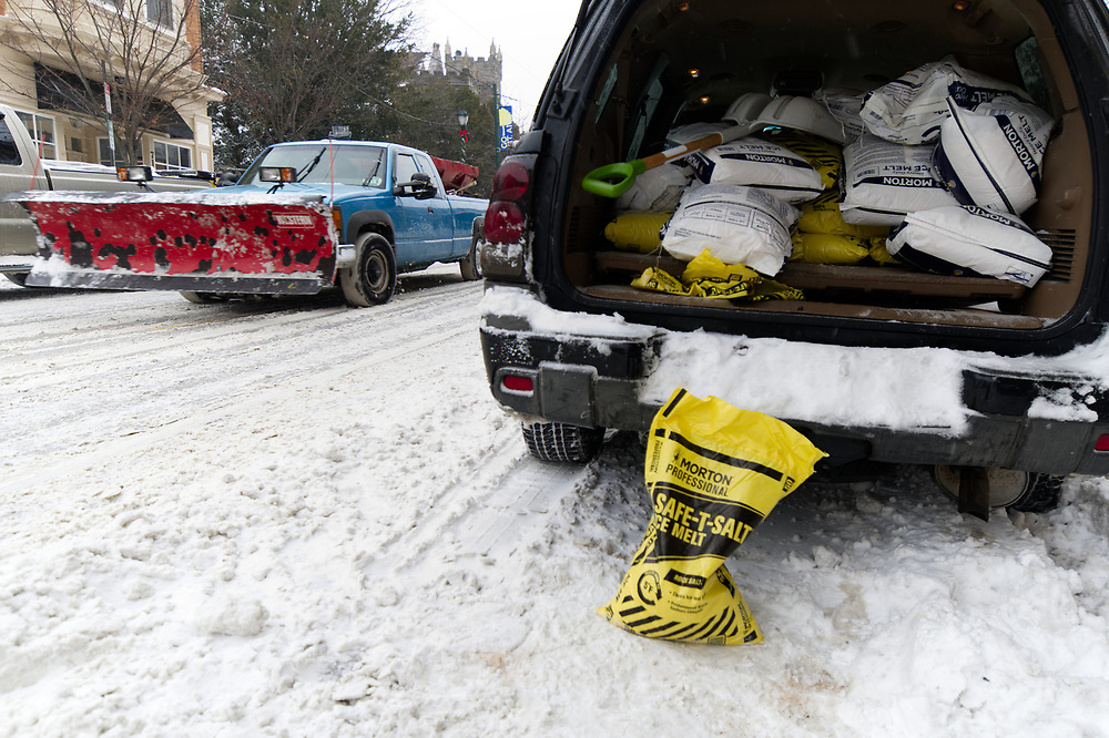 Professional snow removal crews work as the region feels the impact of the 'Bomb Cyclone' winter storm Grayson, on January 4, 2018, in Philadelphia, PA