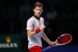 Austria's Dominic Thiem celebrates during the Men's Singles match during day five of the Nitto ATP Finals at The O2 Arena, London.