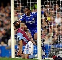 Photo: Daniel Hambury.<br />Chelsea v Aston Villa. The Barclays Premiership. 30/09/2006.<br />Chelsea's Didier Drogba celebrates his goal.