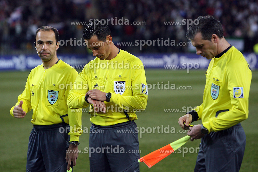 Referees Jose Manuel Silva Cardinal, Pedro Proenca Oliveira Alves Garcia and Duarte Nuno Pereira Gomes at the 8th day qualification game of 2010 FIFA WORLD CUP SOUTH AFRICA in Group 3 between Slovenia and Czech Republic at Stadion Ljudski vrt, on March 28, 2008, in Maribor, Slovenia. Slovenia vs Czech Republic 0 : 0. (Photo by Vid Ponikvar / Sportida)