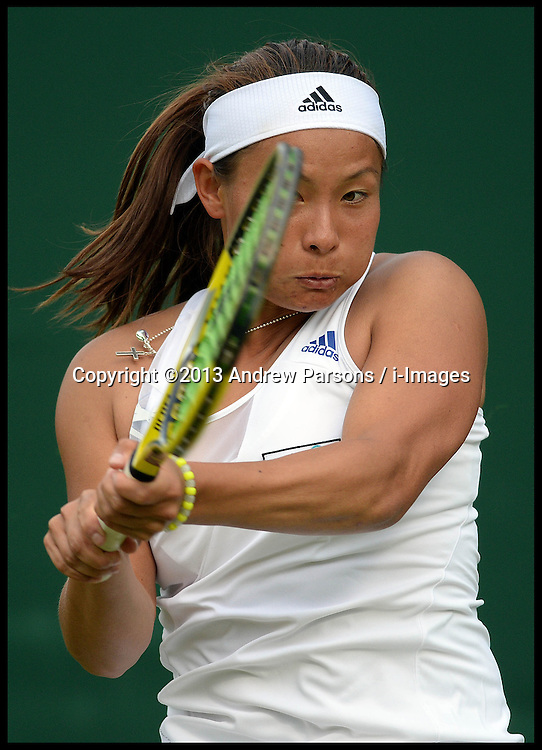 Britain's Tara Moore v Kaia Kanepi from (EST) on day two Of the Wimbledon Tennis Championships.<br /> Tuesday, 25th June 2013<br /> Picture by Andrew Parsons / i-Images