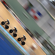 Alison Shanks, Lauren Ellis and Jaime Nielsen, New Zealand, in action during the Women's 3000m Team Pursuit at the 2012 Oceania WHK Track Cycling Championships, Invercargill, New Zealand. 21st November  2011. Photo Tim Clayton...