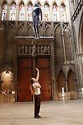 """Une journÈe avec Fleur Nabert, sculpteur, ? Metz le samedi 24 avril 2010, ? l'occasion du vernissage de l'exposition """"Les Cinq Sens"""" - Sculptures en vie rÈalisÈes par l'artiste ? la CathÈdrale de Metz. Fleur Nabert prÈsente ses """"sculptures en vie"""" objets de l'exposition """"Les Cinq Sens"""" dans la cathÈrale de Metz A day with Fleur Nabert, sculptor, on April 24, 2010 in Metz, France for the opening of the sculptures exhibition """"Les cinq sens - sculptures en vie"""" in St Stephen Cathedral of Metz. Fleur Nabert fixing details of the assembling. Picture by Manuel Cohen"""