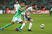 Michael Carrick Midfielder of Manchester United battles with Saint-Etienne Forward Kevin Monnet-Paquet during the Europa League match between Saint-Etienne and Manchester United at Stade Geoffroy Guichard, Saint-Etienne, France on 22 February 2017. Photo by Phil Duncan.