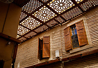 MARRAKESH, MOROCCO - CIRCA APRIL 2018: Architectural detail inside the spice market in Marrakesh