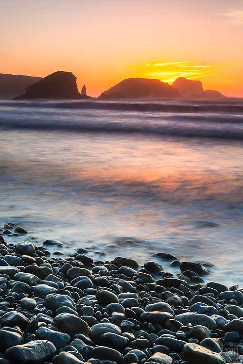 """Plaskett Rock at Sunset 1"" - Photograph at sunset of Plaskett Rock and other rocks along the Pacific Ocean shoreline in the Big Sur area of California."