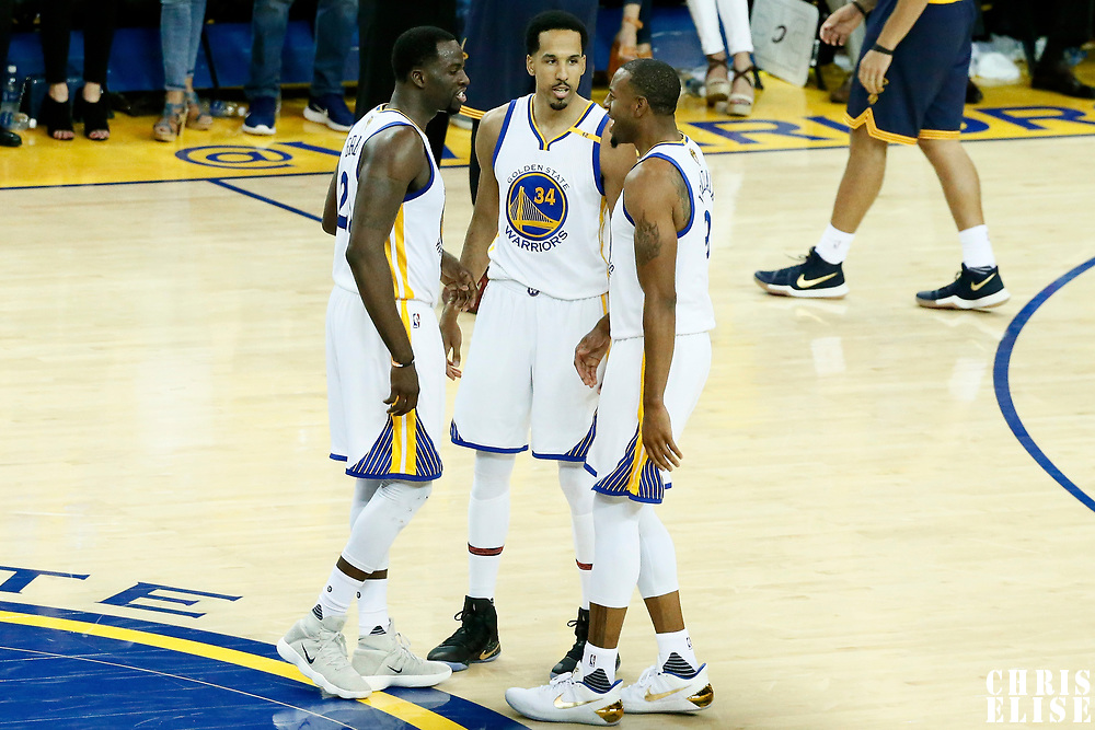 01 June 2017: Golden State Warriors forward Draymond Green (23), Golden State Warriors guard Shaun Livingston (34) and Golden State Warriors forward Andre Iguodala (9) are seen during the Golden State Warriors 113-90 victory over the Cleveland Cavaliers, in game 1 of the 2017 NBA Finals, at the Oracle Arena, Oakland, California, USA.