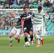 Dundee's Luka Tankulic is outnumbered by Celtic's Scott Brown and Nir Biton -  Celtic v Dundee - SPFL Premiership at Celtic Park<br /> <br /> <br />  - © David Young - www.davidyoungphoto.co.uk - email: davidyoungphoto@gmail.com