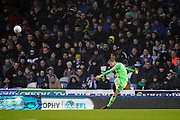 Alex Bass of Portsmouth kicks off during the EFL Sky Bet League 1 match between Portsmouth and Shrewsbury Town at Fratton Park, Portsmouth, England on 15 February 2020.
