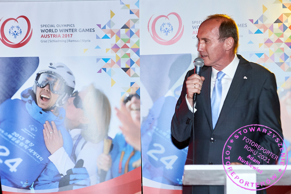 Othmar Karas an Austrian politician and Member of the European Parliament (he is a member of the Austrian People's Party, vice-chair of the EPP-ED group, and sits on the European Parliament's Committee on Economic and Monetary Affairs) speaks while Austria 2017 Reception during third day of the Special Olympics World Games Los Angeles 2015 on July 27, 2015 in Los Angeles, USA.<br /> USA, Los Angeles, July 27, 2015<br /> <br /> Picture also available in RAW (NEF) or TIFF format on special request.<br /> <br /> For editorial use only. Any commercial or promotional use requires permission.<br /> <br /> Adam Nurkiewicz declares that he has no rights to the image of people at the photographs of his authorship.<br /> <br /> Mandatory credit:<br /> Photo by &copy; Adam Nurkiewicz / Mediasport