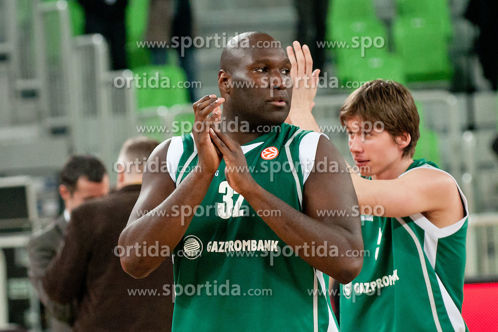 Nathan Jawai of Unics Kazan after basketball match between KK Union Olimpija and Unics Kazan (RUS) of 10th Round in Group D of Regular season of Euroleague 2011/2012 on December 21, 2011, in Arena Stozice, Ljubljana, Slovenia. Unics Kazan defeated Union Olimpija 76:63.(Photo by Matic Klansek Velej / Sportida)