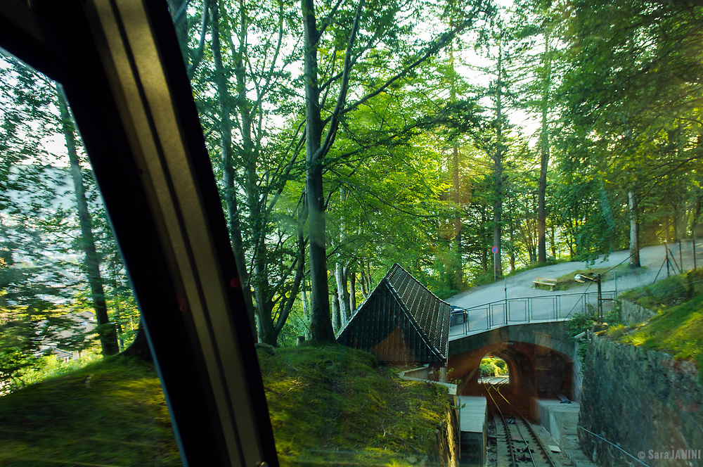 Funicular to Mt. Fløyen, Bergen, Hordaland, Fjords, Norway, Europe