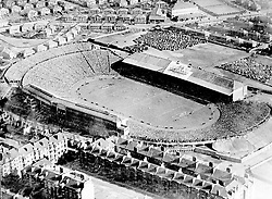 An aerial view of Hampden Park, Glasgow, during the match between Scotland and England. Scotland beat England by one goal.